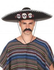 Aikuisten musta sombrero hopeanvärisillä yksityiskohdilla - Dia de los muertos