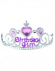 Birthday girl tiara hopea-vaaleanpunainen