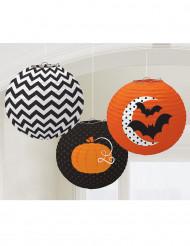3 pyöreää halloween lyhtyä