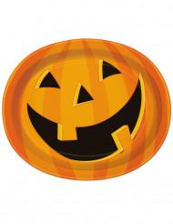 Halloween-kurpitsalla somistetut pahvilautaset 8 kpl