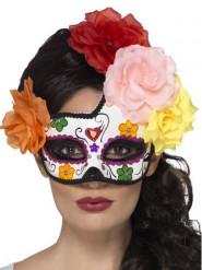 Naisten Dia de los muertos -puolinaamio värikkäillä koristeruusuilla