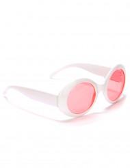 Aikuisten pyöreät valkoiset muovisilmälasit
