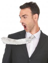Valkoinen paljettikoristeltu kravatti aikuisille