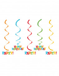 Värikkäät spiraalikoristeet syntymäpäiväjuhliin