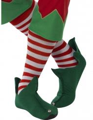 Pitkävartiset punavalkoraidalliset sukat aikuisille