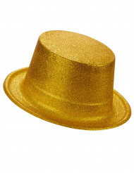 Aikuisten muovinen silinterihattu Kultainen glitter