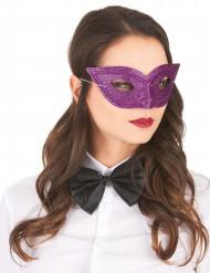 Venetsialaistyylinen violetti paljettipuolinaamio aikuisille