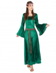 Vihreä keskiaikainen mekko naisille