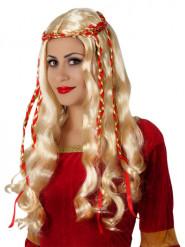 Naisten pitkä vaalea peruukki punaisilla koristenauhoilla