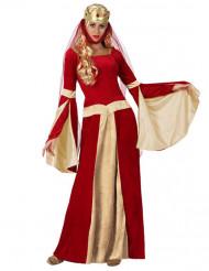 Aikuisen punainen keskiaikaisen aatelisnaisen mekko