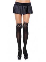Mustat kissa sukkahousut naiselle