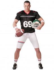 Miesten mustavalkoinen naamiaispuku amerikkalaisen jalkapallon pelaaja