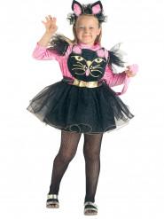 Ovelan kissan naamiaisasu lapsille - sis. mustan mekon vaaleanpunaisilla yksityiskohdilla