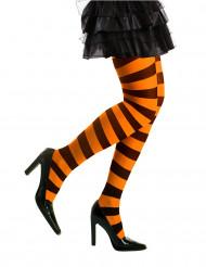 Aikuisten musta-oranssiraidalliset sukkahousut