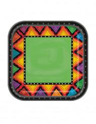 Pienet nelikulmaiset Meksiko-kartonkilautaset 17,5 cm - 10 kpl