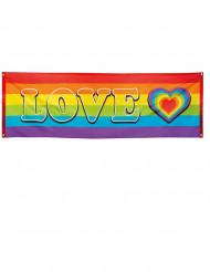 Sateenkaarenvärinen LOVE-banneri 74 x 220 cm