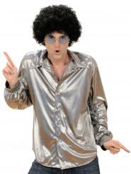 Hopeanvärinen holografinen discopaita miehelle
