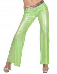 Vihreät holografiset housut naiselle