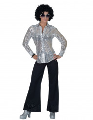 Paljettinen ja hopeanvärinen discopaita naiselle