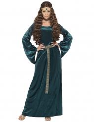 Vihreä keskiaikainen kuningatar naamiaisasu naiselle