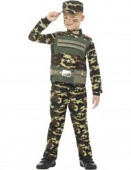 Maastokuvioinen sotilaan naamiaisasu pojalle