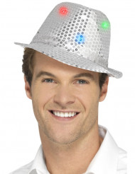 Hopeanvärinen LED- paljettiborsalino aikuiselle