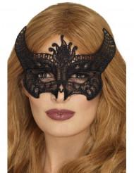 Paholaisen musta pitsinaamari naiselle halloween