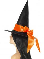 Musta hattu oranssilla nauhalla naiselle