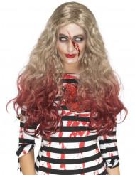 Pitkä blondi verinen peruukki naiselle halloween