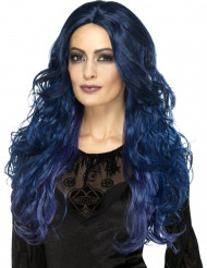 Pitkä sininen kiharaperuukki naiselle