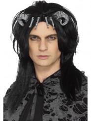Musta demonin peruukki aikuiselle halloweeniksi