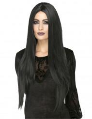 Musta lämmönkestävä peruukki naiselle