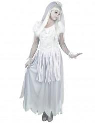 Kummitusmorsiammen valkoharmaa naamiaisasu naiselle
