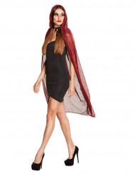 Punainen kiiltävä viitta hupulla naiselle 140 cm halloween