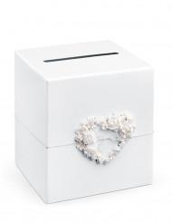 Valkoinen kiitoslaatikko ruusukrassilla