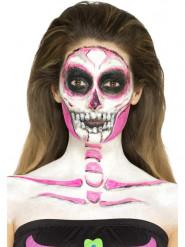 Lateksinen pimeässä hohtava luurankomeikki naiselle halloween