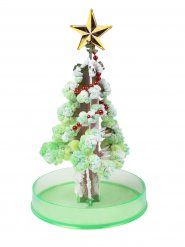 Vihreä ja hopeanvärinen joulukuusi 15 cm