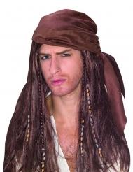 Merirosvon ruskea peruukki  ja bandana miehelle