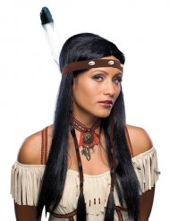 Pitkä musta intiaanityylinen peruukki
