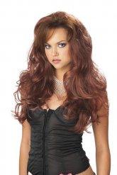Pitkä laineikas ruskea peruukki naiselle
