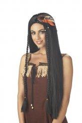 Intiaanin pitkähiuksinen musta peruukki naiselle