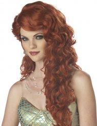 Merenneidon punahiuksinen peruukki naiselle