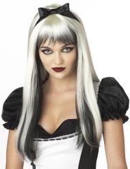 Liisa - Mustavalkoinen peruukki aikuisille
