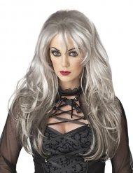 Pitkä harmaa peruukki sivuotsatukalla naiselle