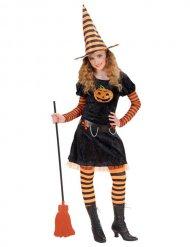 Mustaoranssi noidan naamiaisasu lapselle halloweeniksi