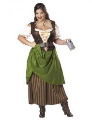 Keskiaikaisen majatalon emännän naamiaisasu naiselle