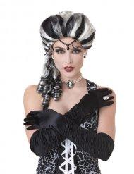 Mustavalkoinen barokkiperuukki naiselle