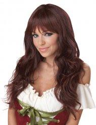 Kihara ruskea peruukki otsatukalla naiselle