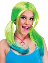 Vihreä/sininen peruukki naiselle