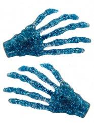 Siniset ja paljettiset luurangon kädet- hiuspinssit 2 kpl